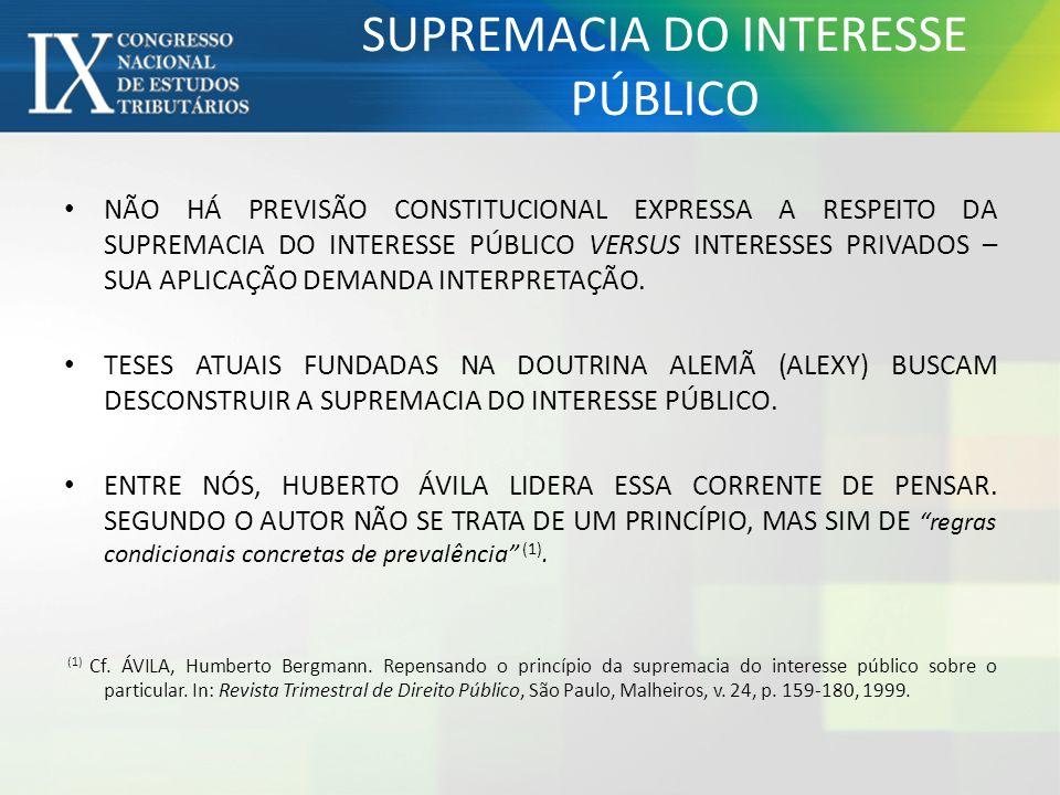 NÃO HÁ PREVISÃO CONSTITUCIONAL EXPRESSA A RESPEITO DA SUPREMACIA DO INTERESSE PÚBLICO VERSUS INTERESSES PRIVADOS – SUA APLICAÇÃO DEMANDA INTERPRETAÇÃO