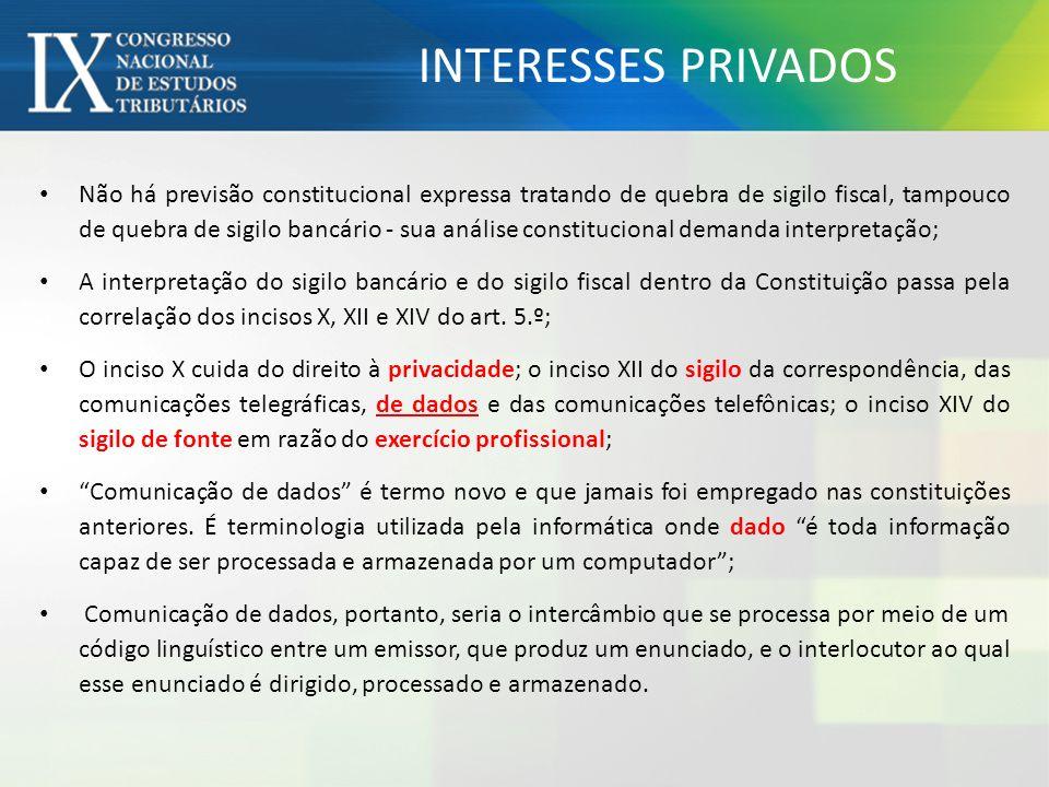 ACÓRDÃOS DO STF EM CONTROLE DIFUSO SIGILO DE DADOS – AFASTAMENTO.