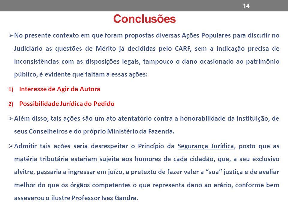Conclusões No presente contexto em que foram propostas diversas Ações Populares para discutir no Judiciário as questões de Mérito já decididas pelo CA