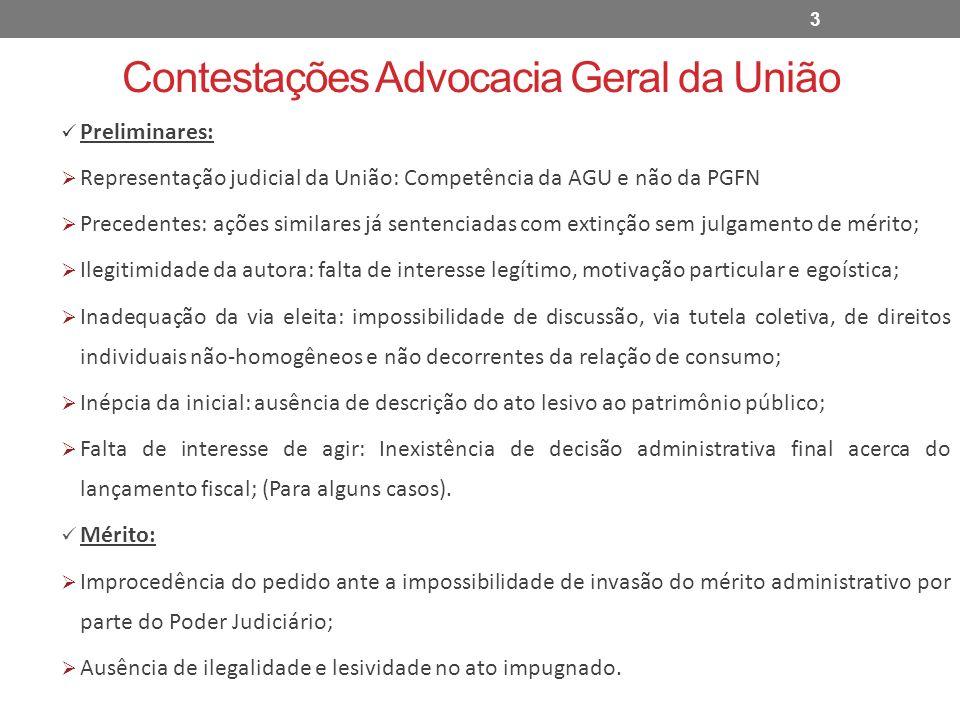 Contestações Advocacia Geral da União Preliminares: Representação judicial da União: Competência da AGU e não da PGFN Precedentes: ações similares já