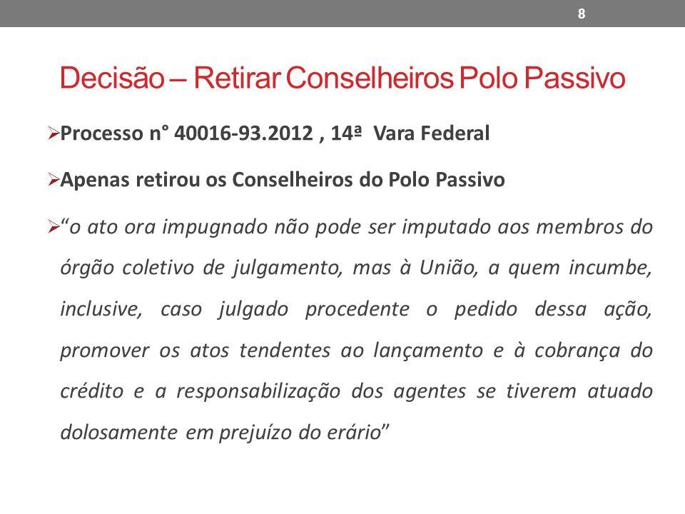 Decisão – Retirar Conselheiros Polo Passivo Processo n° 40016-93.2012, 14ª Vara Federal Apenas retirou os Conselheiros do Polo Passivo o ato ora impug
