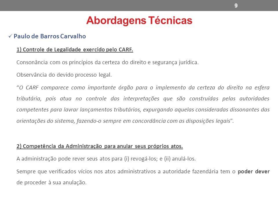 Abordagens Técnicas Paulo de Barros Carvalho 1) Controle de Legalidade exercido pelo CARF. Consonância com os princípios da certeza do direito e segur