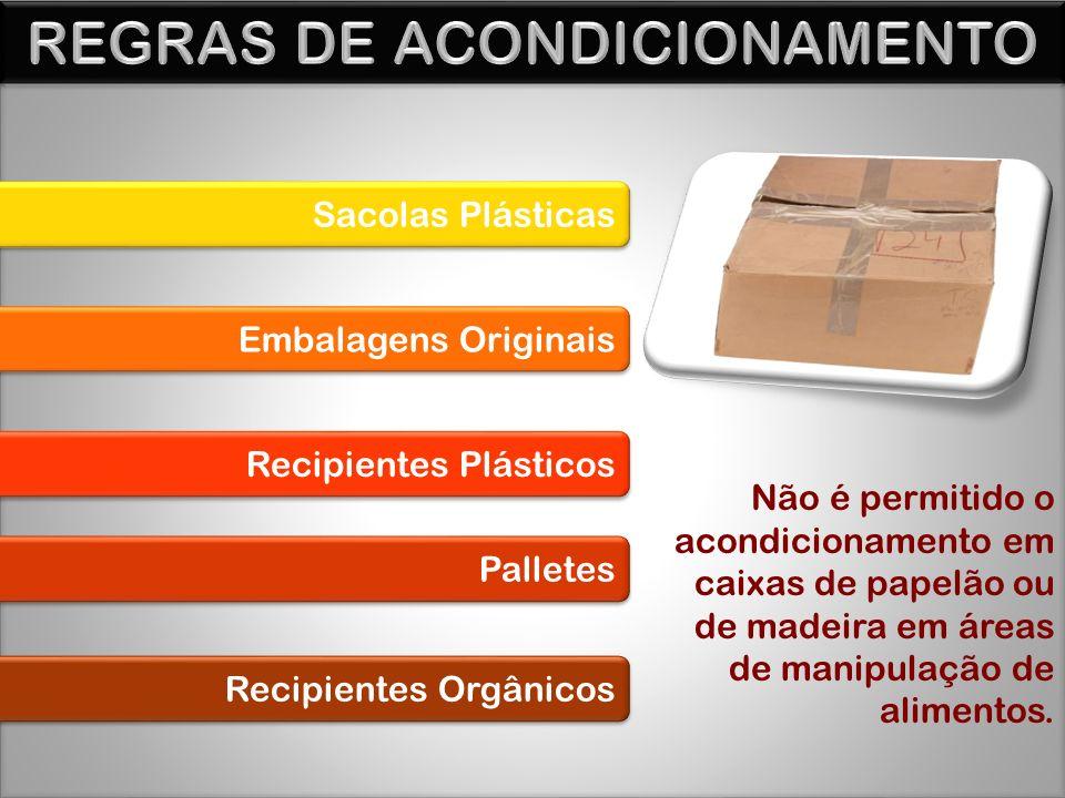 Sacolas Plásticas Embalagens Originais Recipientes Plásticos Palletes Recipientes Orgânicos Não é permitido o acondicionamento em caixas de papelão ou de madeira em áreas de manipulação de alimentos.