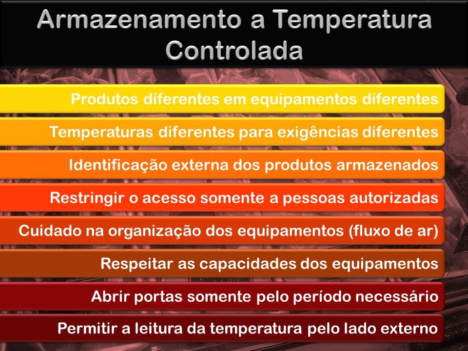Produtos diferentes em equipamentos diferentes Temperaturas diferentes para exigências diferentes Identificação externa dos produtos armazenados Restr