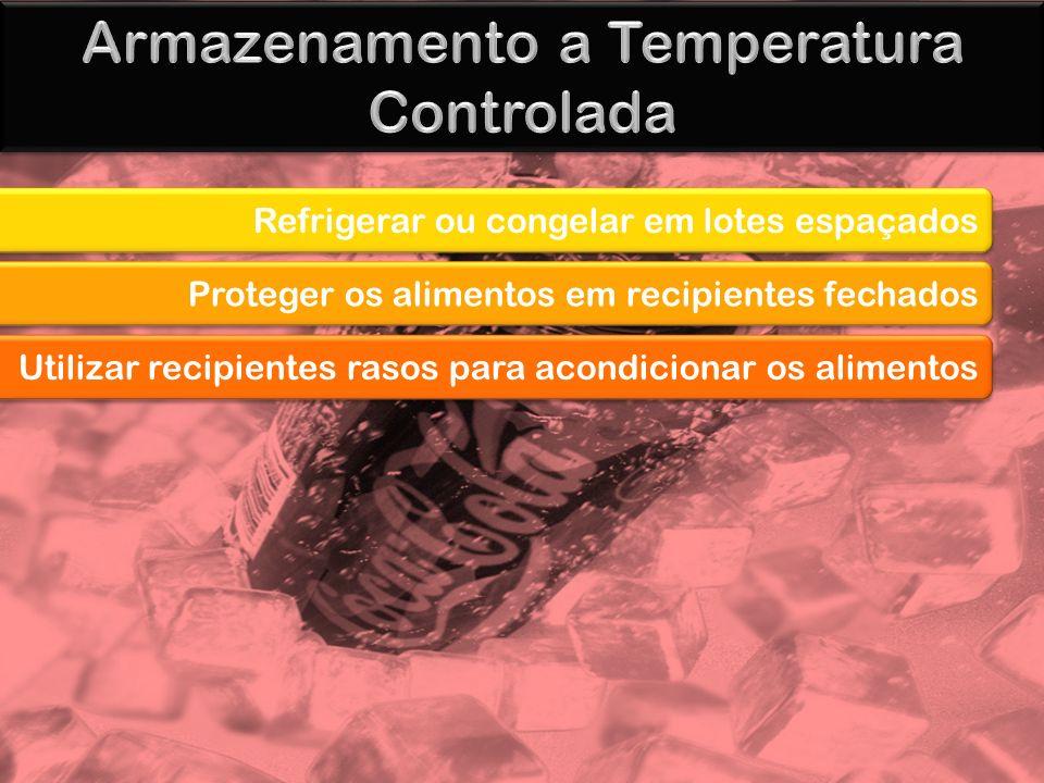 Refrigerar ou congelar em lotes espaçados Proteger os alimentos em recipientes fechados Utilizar recipientes rasos para acondicionar os alimentos