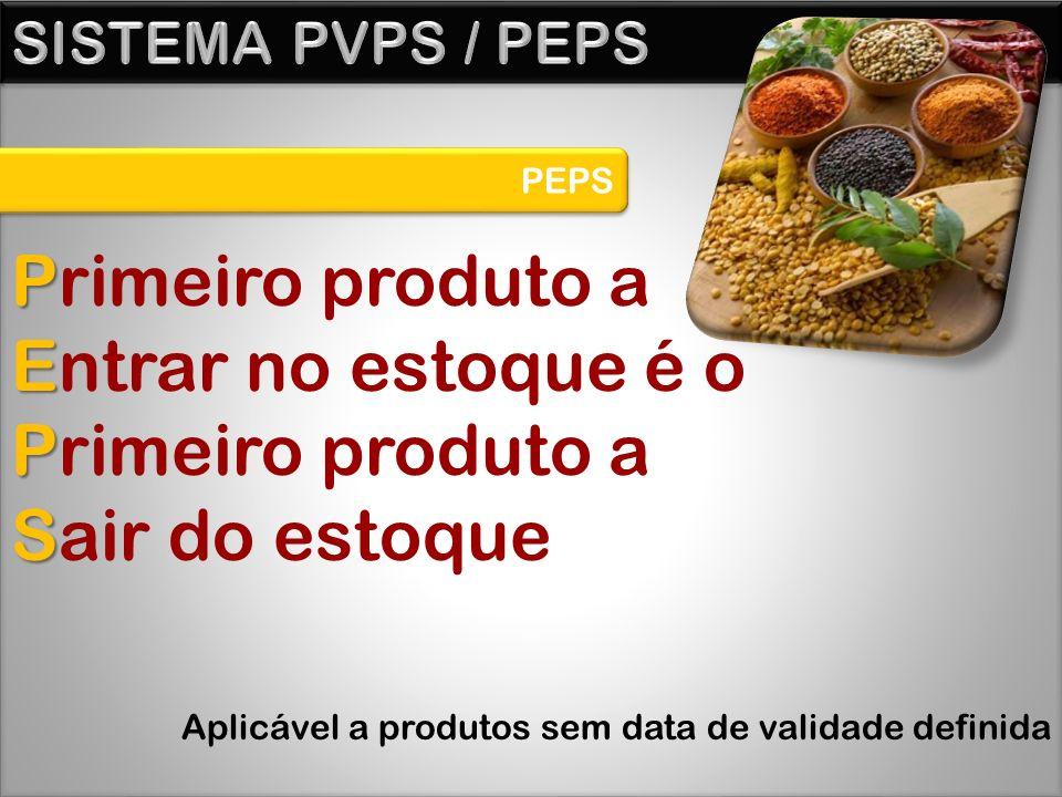 PEPS P Primeiro produto a E Entrar no estoque é o P Primeiro produto a S Sair do estoque Aplicável a produtos sem data de validade definida
