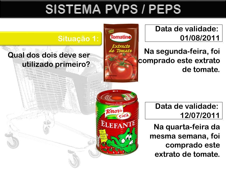 Data de validade: 01/08/2011 Data de validade: 12/07/2011 Situação 1: Na segunda-feira, foi comprado este extrato de tomate. Qual dos dois deve ser ut