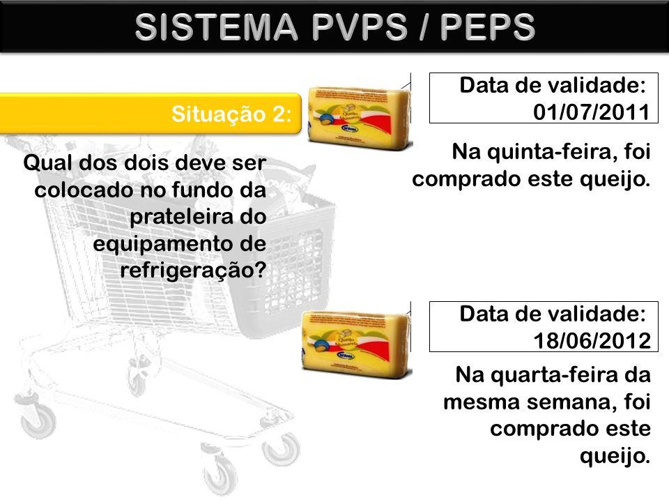 Data de validade: 01/07/2011 Data de validade: 18/06/2012 Situação 2: Na quinta-feira, foi comprado este queijo. Qual dos dois deve ser colocado no fu