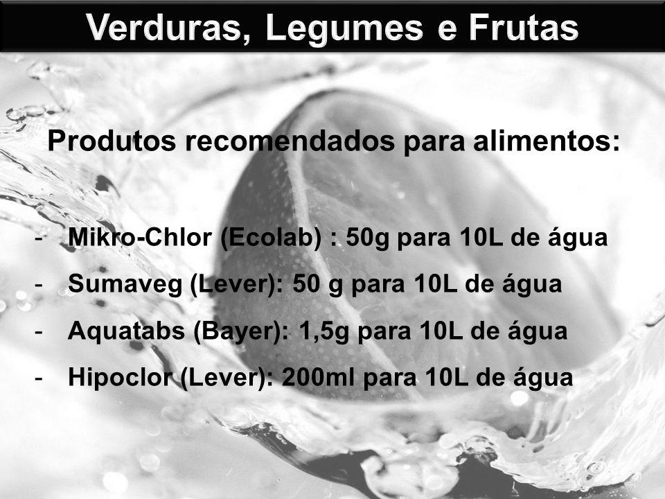 Produtos recomendados para alimentos: -Mikro-Chlor (Ecolab) : 50g para 10L de água -Sumaveg (Lever): 50 g para 10L de água -Aquatabs (Bayer): 1,5g para 10L de água -Hipoclor (Lever): 200ml para 10L de água