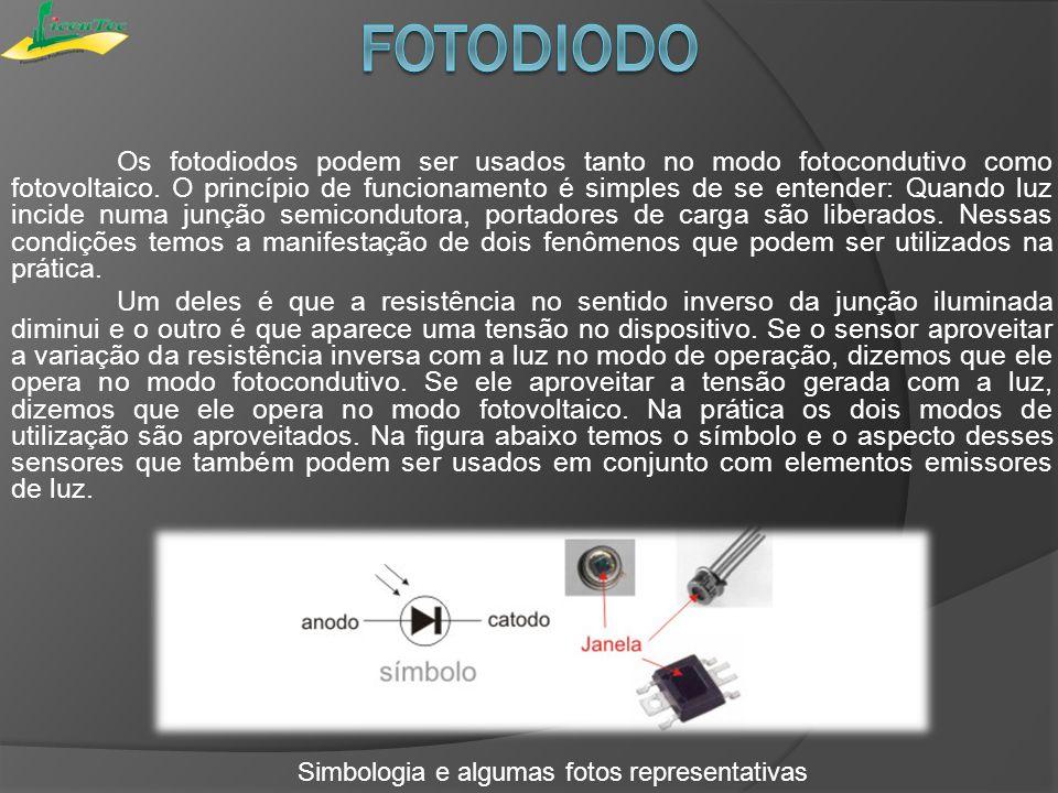 O fotodiodo pode ser aplicado no foco automático de filmadora, na unidade ótica de CD Player e em sistema de contador de pulsos.