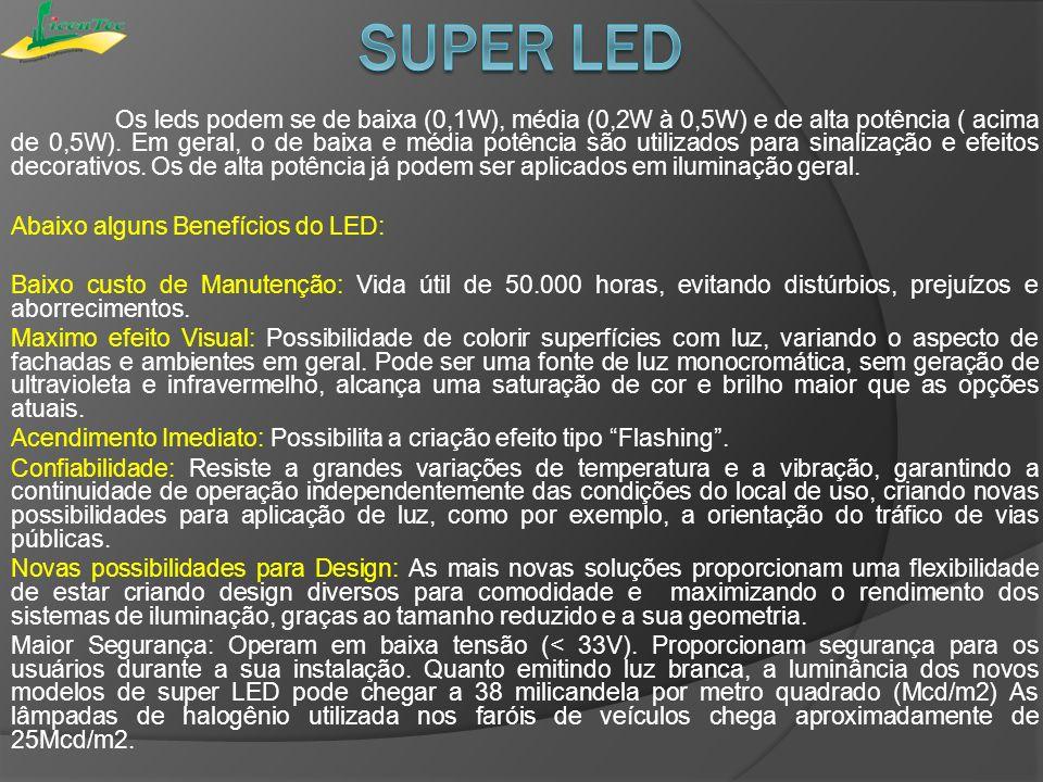Os leds podem se de baixa (0,1W), média (0,2W à 0,5W) e de alta potência ( acima de 0,5W). Em geral, o de baixa e média potência são utilizados para s