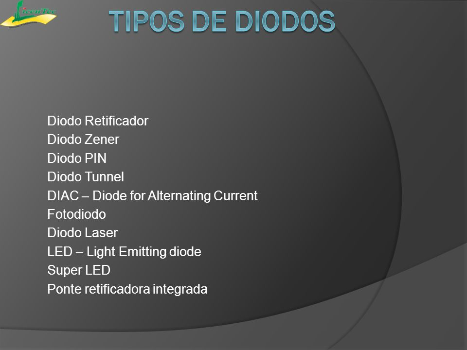 Diodo Retificador Diodo Zener Diodo PIN Diodo Tunnel DIAC – Diode for Alternating Current Fotodiodo Diodo Laser LED – Light Emitting diode Super LED P