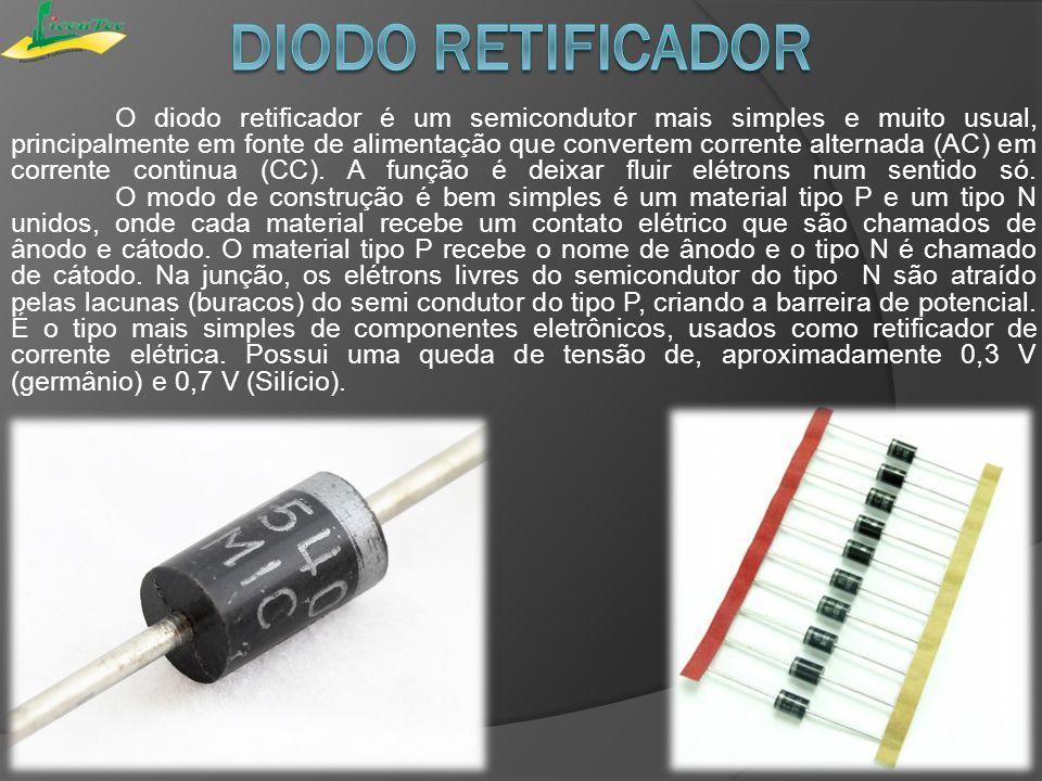 Quando colocado em um simples circuito bateria lâmpada, o diodo permite ou impede corrente através da lâmpada, dependendo da polaridade da tensão aplicada, como nas duas figuras abaixo.circuitobaterialâmpadapolaridade Circuito Básico PolarizaçãoRetificador