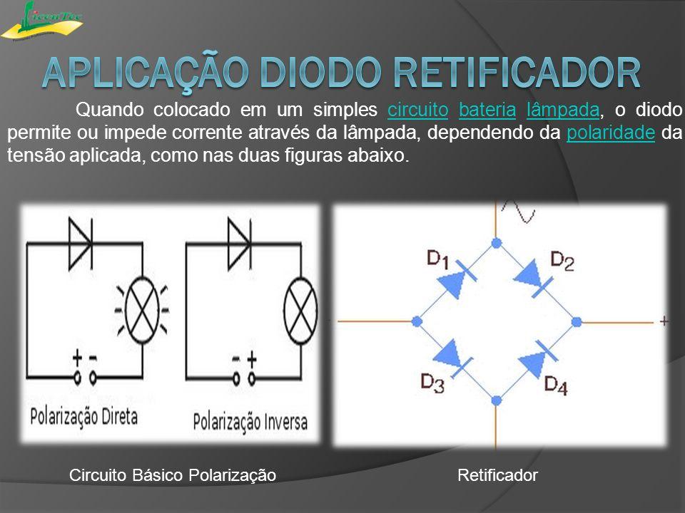 Quando colocado em um simples circuito bateria lâmpada, o diodo permite ou impede corrente através da lâmpada, dependendo da polaridade da tensão apli