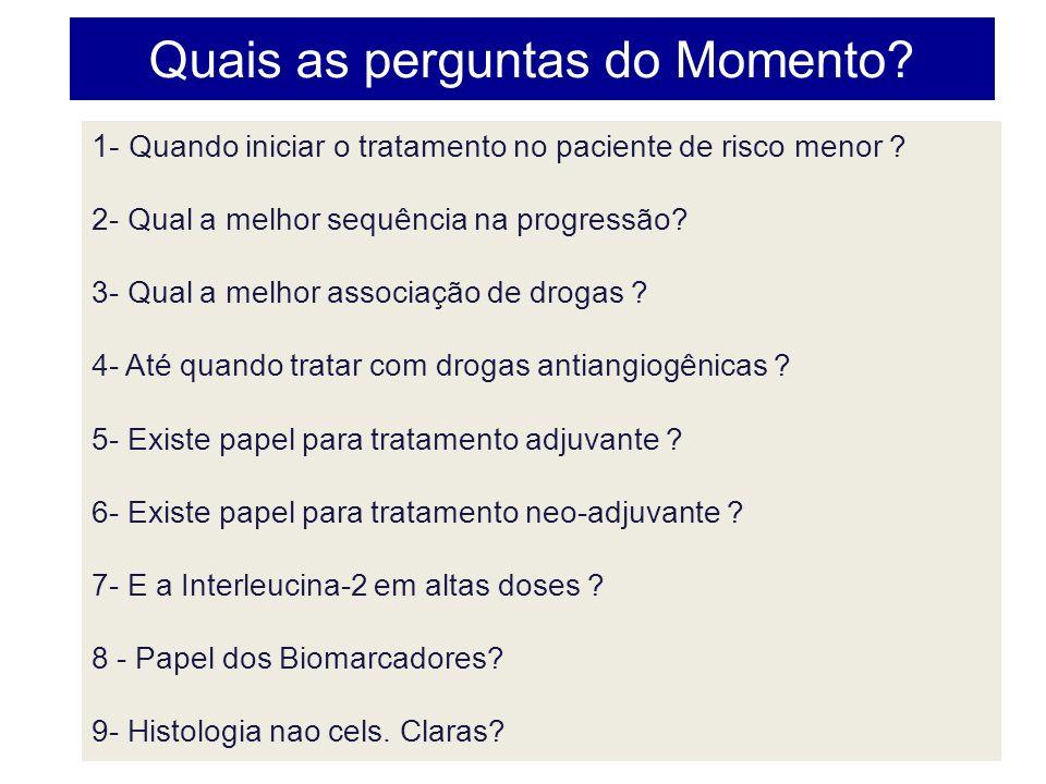 Quais as perguntas do Momento? 1- Quando iniciar o tratamento no paciente de risco menor ? 2- Qual a melhor sequência na progressão? 3- Qual a melhor