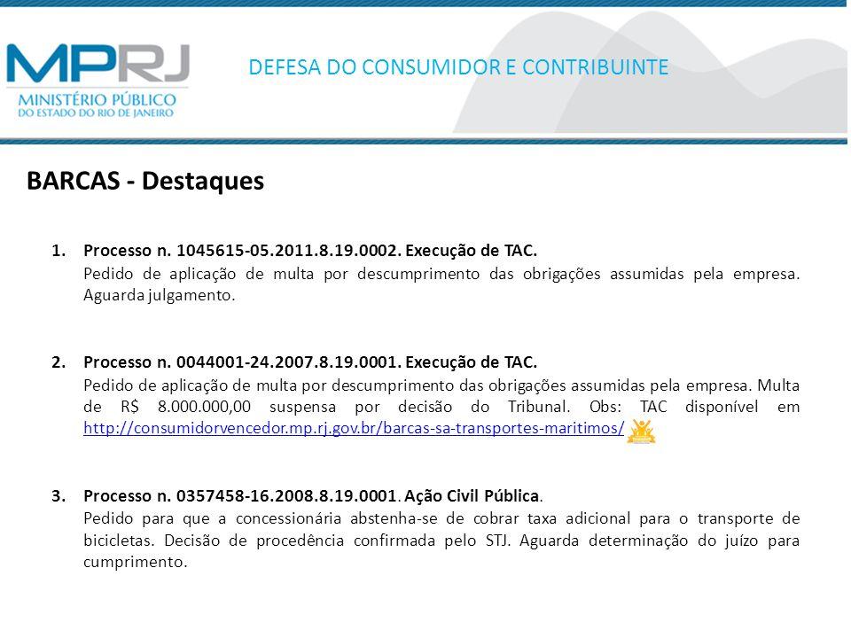 BARCAS - Destaques DEFESA DO CONSUMIDOR E CONTRIBUINTE 1.Processo n. 1045615-05.2011.8.19.0002. Execução de TAC. Pedido de aplicação de multa por desc