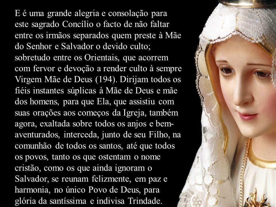 E é uma grande alegria e consolação para este sagrado Concílio o facto de não faltar entre os irmãos separados quem preste à Mãe do Senhor e Salvador