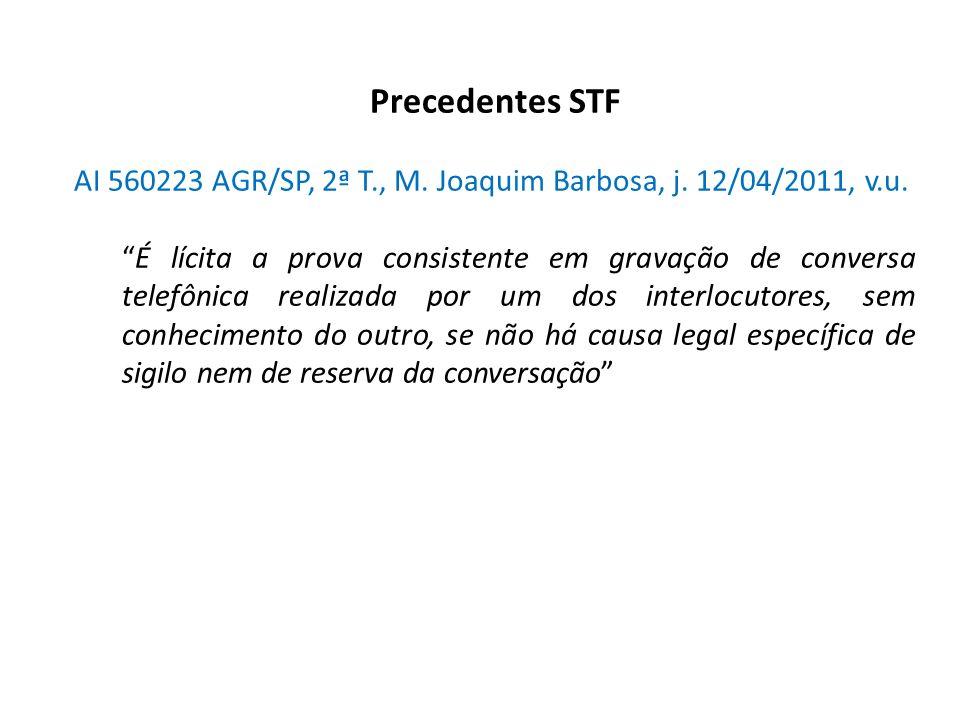 Precedentes STF AI 560223 AGR/SP, 2ª T., M. Joaquim Barbosa, j. 12/04/2011, v.u. É lícita a prova consistente em gravação de conversa telefônica reali