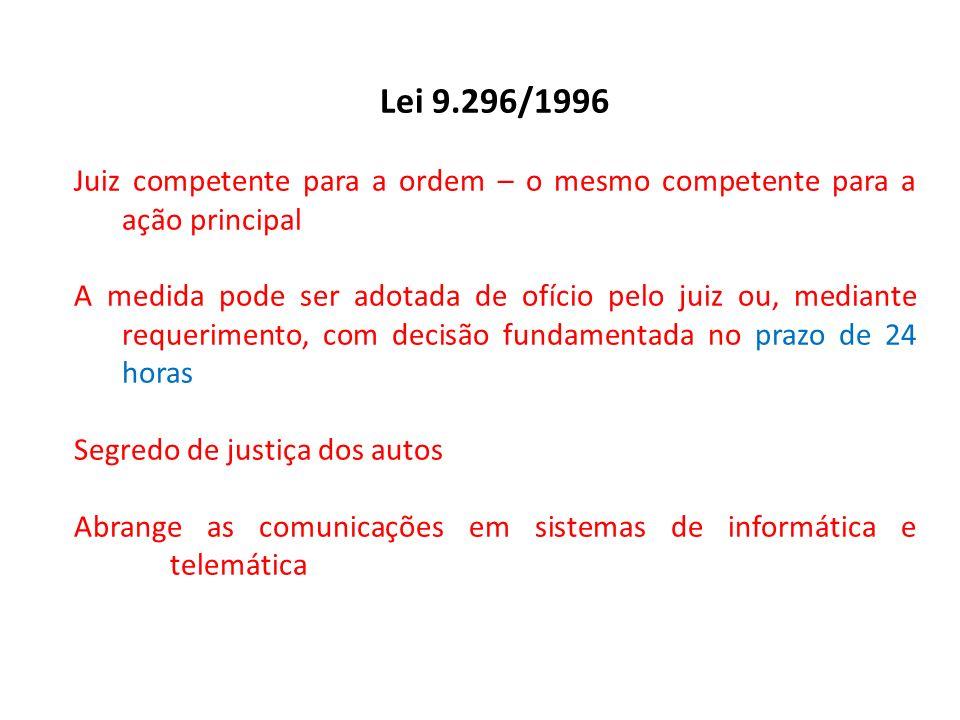 Lei 9.296/1996 Juiz competente para a ordem – o mesmo competente para a ação principal A medida pode ser adotada de ofício pelo juiz ou, mediante requ