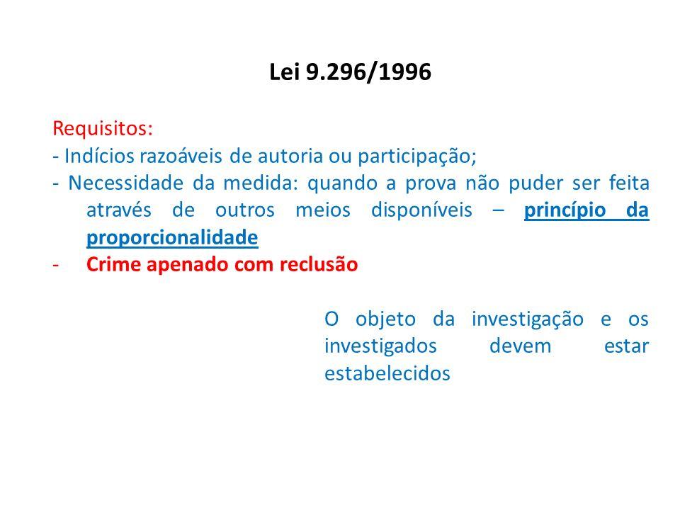 Lei 9.296/1996 Requisitos: - Indícios razoáveis de autoria ou participação; - Necessidade da medida: quando a prova não puder ser feita através de out