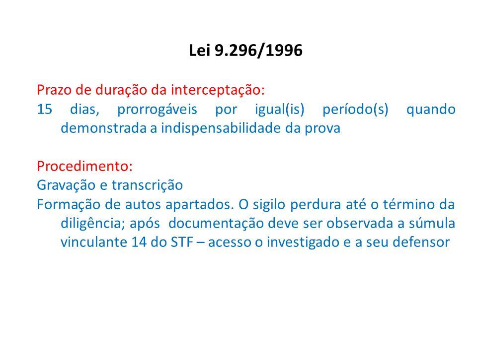 Lei 9.296/1996 Prazo de duração da interceptação: 15 dias, prorrogáveis por igual(is) período(s) quando demonstrada a indispensabilidade da prova Proc
