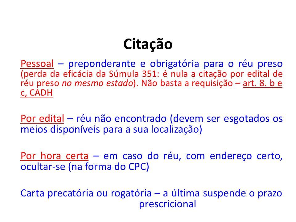 Citação Pessoal – preponderante e obrigatória para o réu preso (perda da eficácia da Súmula 351: é nula a citação por edital de réu preso no mesmo est