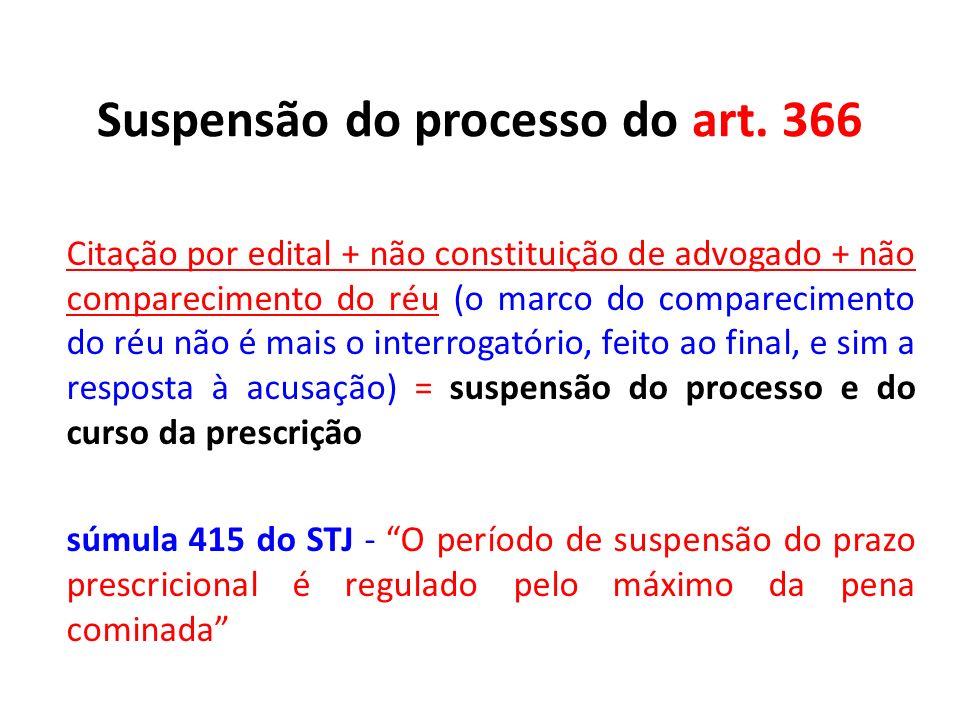 Suspensão do processo do art. 366 Citação por edital + não constituição de advogado + não comparecimento do réu (o marco do comparecimento do réu não