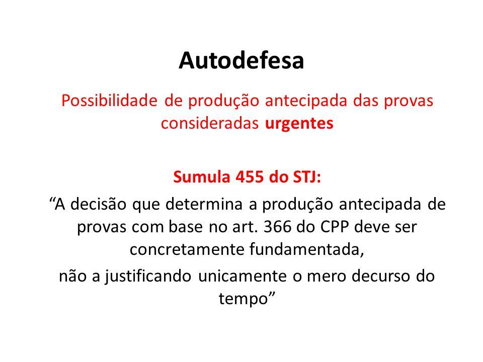 Autodefesa Possibilidade de produção antecipada das provas consideradas urgentes Sumula 455 do STJ: A decisão que determina a produção antecipada de p