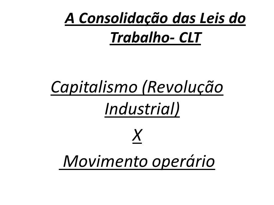 A Consolidação das Leis do Trabalho- CLT Capitalismo (Revolução Industrial) X Movimento operário
