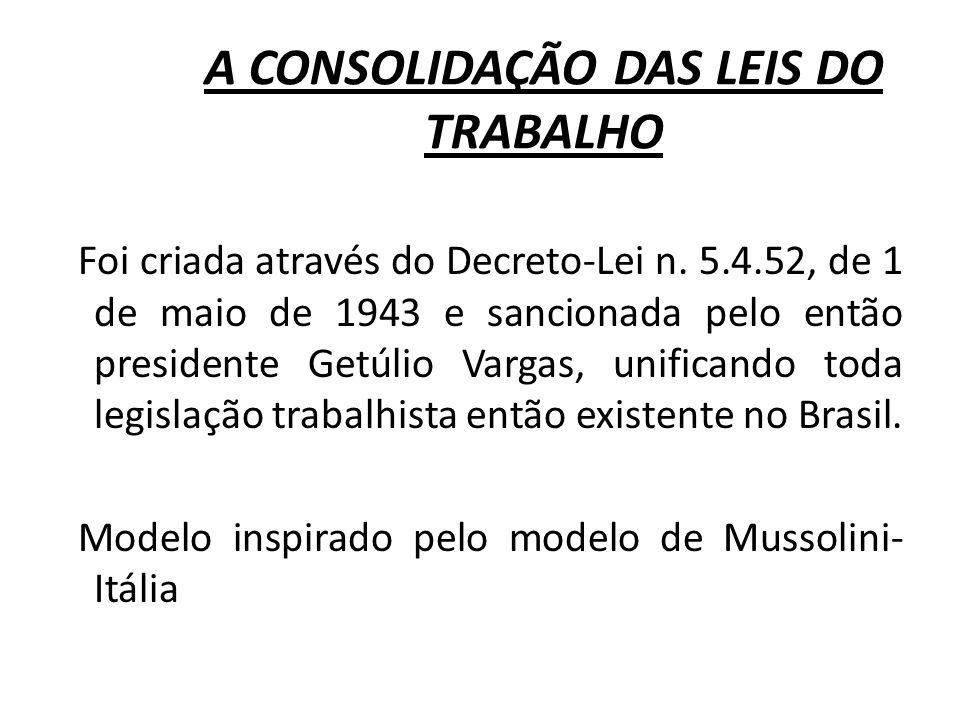 A CONSOLIDAÇÃO DAS LEIS DO TRABALHO Foi criada através do Decreto-Lei n. 5.4.52, de 1 de maio de 1943 e sancionada pelo então presidente Getúlio Varga