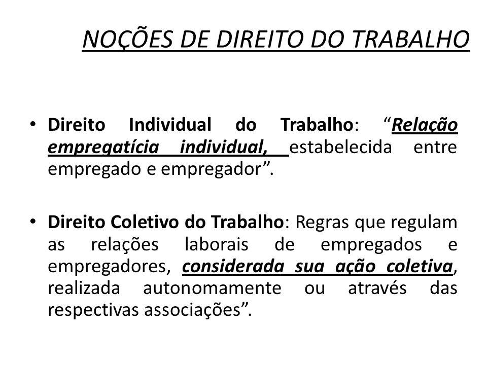 NOÇÕES DE DIREITO DO TRABALHO Direito Individual do Trabalho: Relação empregatícia individual, estabelecida entre empregado e empregador. Direito Cole