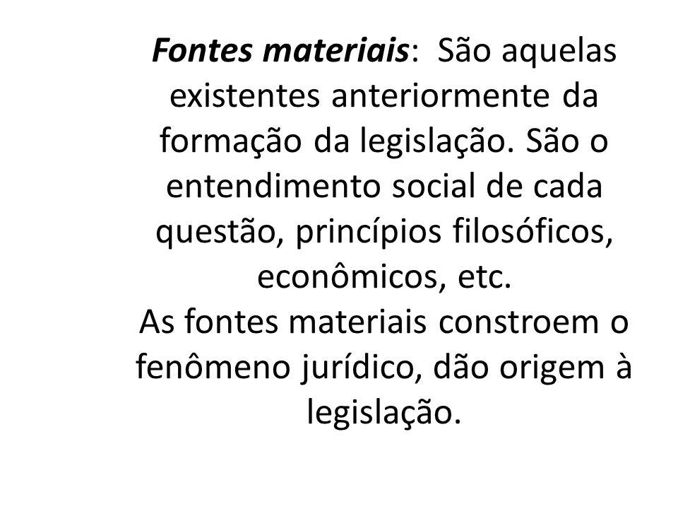 Fontes materiais: São aquelas existentes anteriormente da formação da legislação. São o entendimento social de cada questão, princípios filosóficos, e
