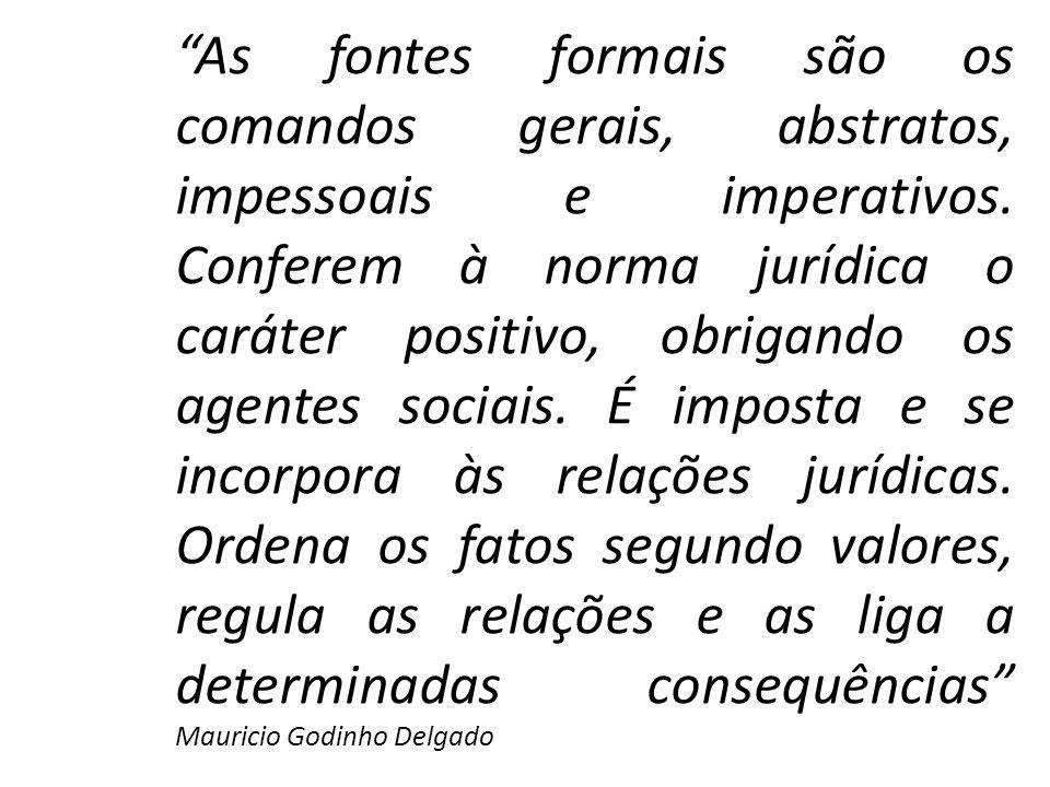 As fontes formais são os comandos gerais, abstratos, impessoais e imperativos. Conferem à norma jurídica o caráter positivo, obrigando os agentes soci