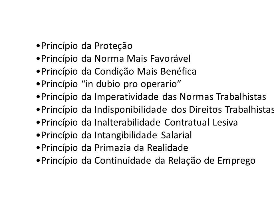 Princípio da Proteção Princípio da Norma Mais Favorável Princípio da Condição Mais Benéfica Princípio in dubio pro operario Princípio da Imperatividad