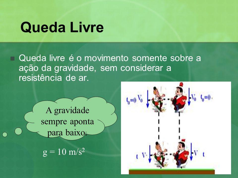Queda Livre Queda livre é o movimento somente sobre a ação da gravidade, sem considerar a resistência de ar.