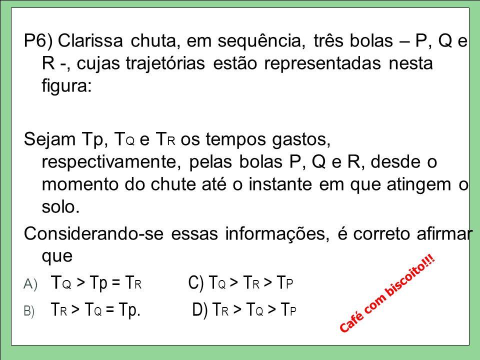 P6) Clarissa chuta, em sequência, três bolas – P, Q e R -, cujas trajetórias estão representadas nesta figura: Sejam Tp, T Q e T R os tempos gastos, respectivamente, pelas bolas P, Q e R, desde o momento do chute até o instante em que atingem o solo.