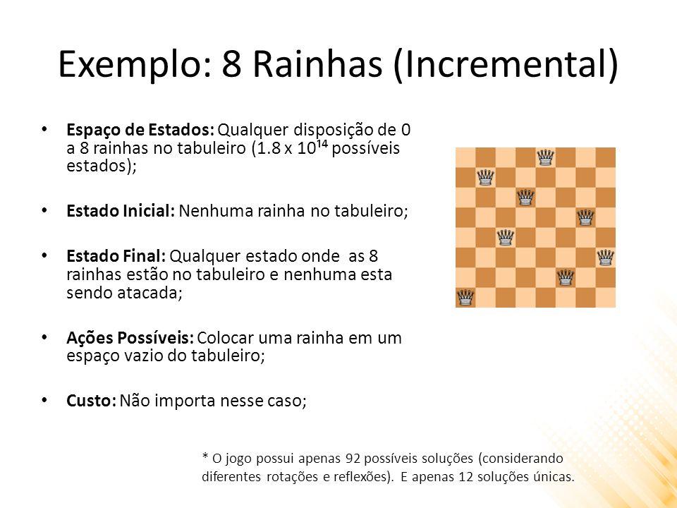 Exemplo: 8 Rainhas (Incremental) Espaço de Estados: Qualquer disposição de 0 a 8 rainhas no tabuleiro (1.8 x 10¹ possíveis estados); Estado Inicial: N