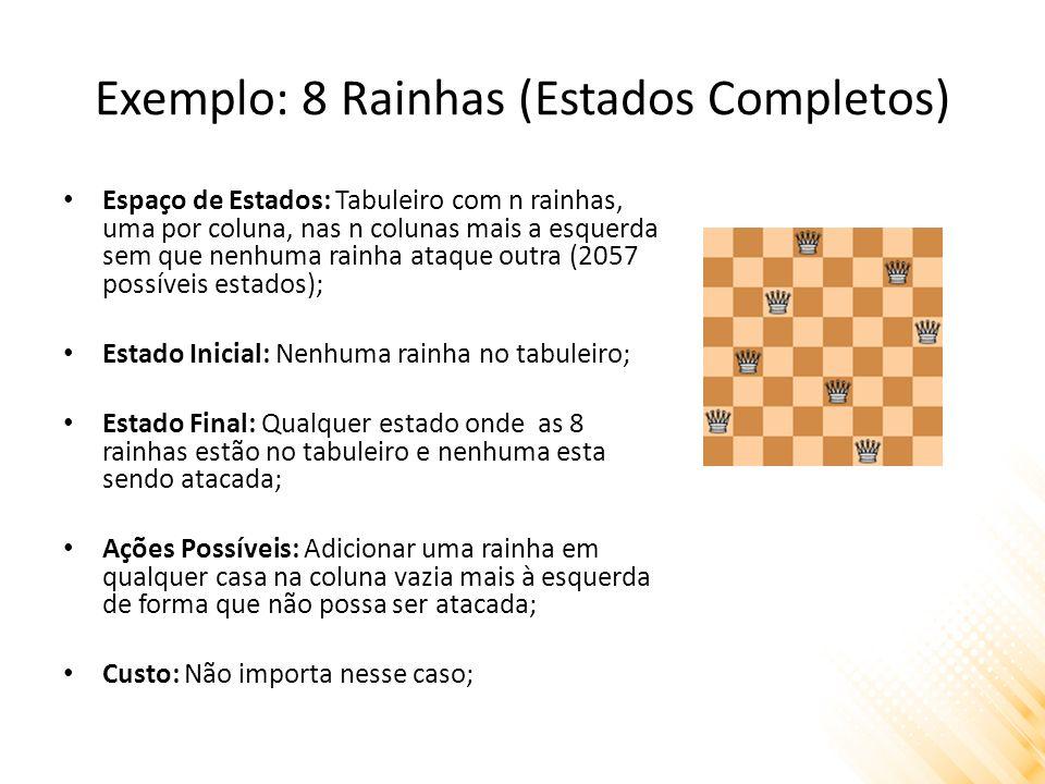 Exemplo: 8 Rainhas (Estados Completos) Espaço de Estados: Tabuleiro com n rainhas, uma por coluna, nas n colunas mais a esquerda sem que nenhuma rainh