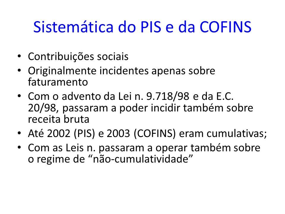 Sistemática do PIS e da COFINS Contribuições sociais Originalmente incidentes apenas sobre faturamento Com o advento da Lei n. 9.718/98 e da E.C. 20/9