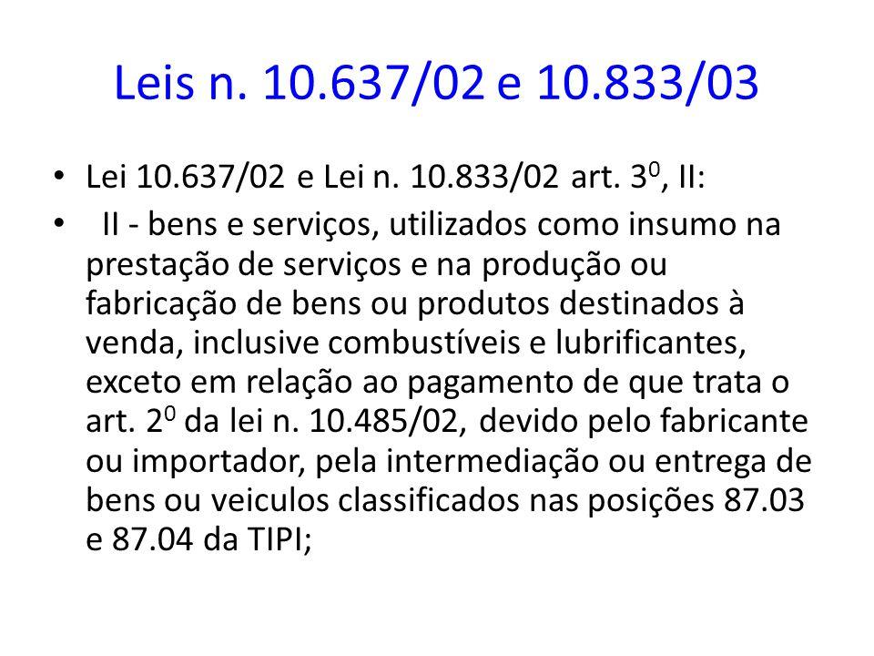 Leis n. 10.637/02 e 10.833/03 Lei 10.637/02 e Lei n. 10.833/02 art. 3 0, II: II - bens e serviços, utilizados como insumo na prestação de serviços e n