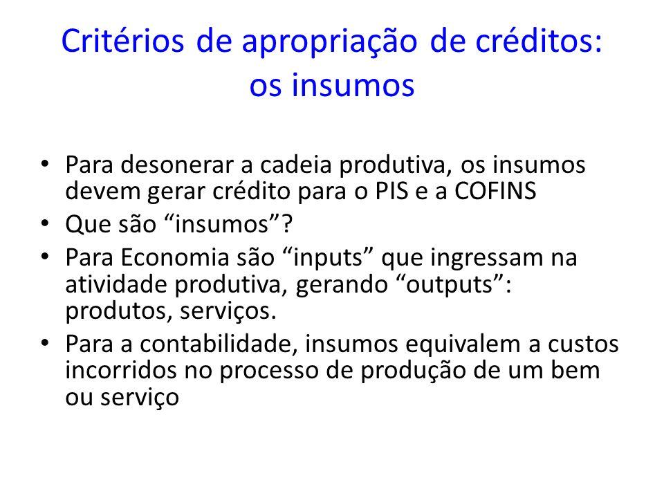 Critérios de apropriação de créditos: os insumos Para desonerar a cadeia produtiva, os insumos devem gerar crédito para o PIS e a COFINS Que são insum