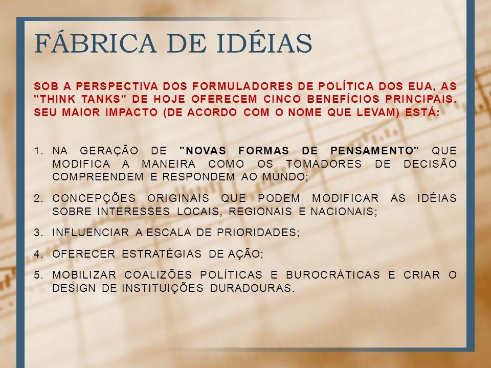 FÁBRICA DE IDÉIAS SOB A PERSPECTIVA DOS FORMULADORES DE POLÍTICA DOS EUA, AS