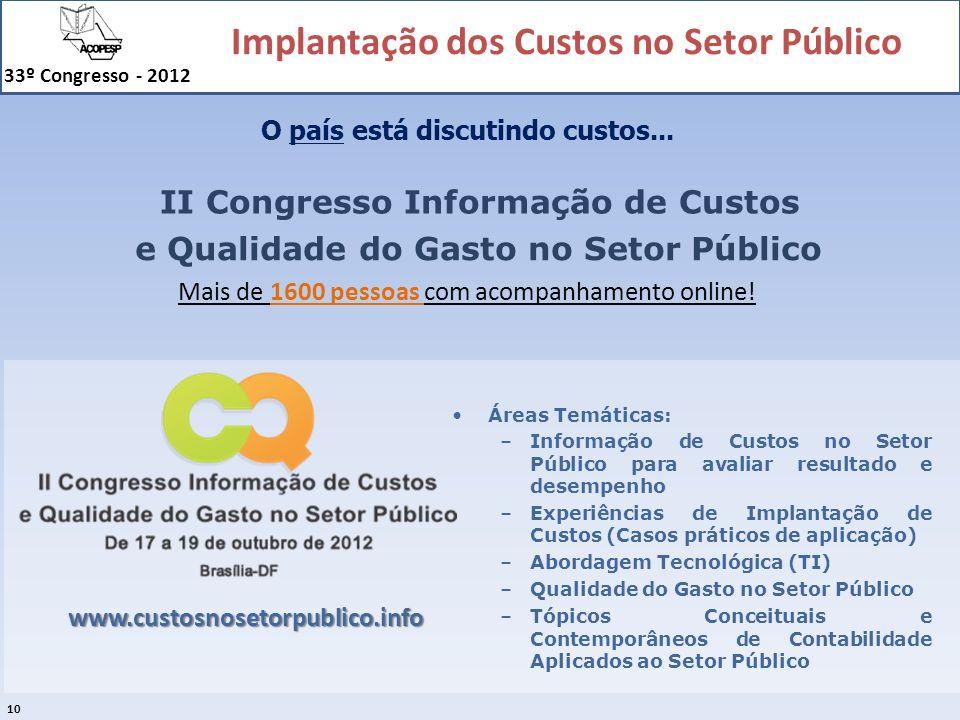 Implantação dos Custos no Setor Público 33º Congresso - 2012 10 II Congresso Informação de Custos e Qualidade do Gasto no Setor Público www.custosnose