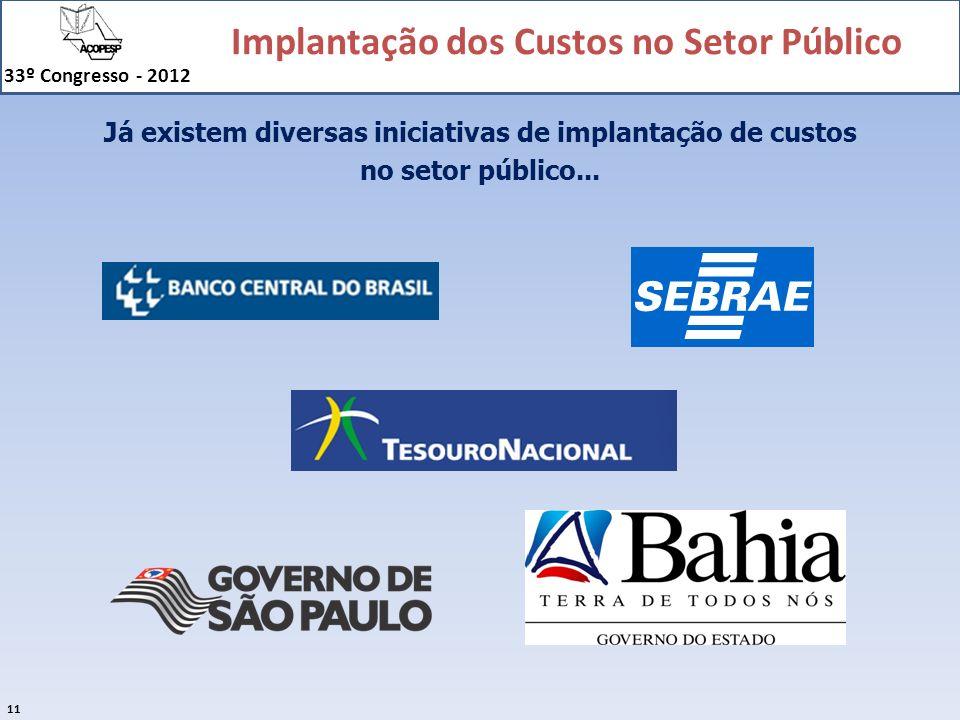 Implantação dos Custos no Setor Público 33º Congresso - 2012 11 Já existem diversas iniciativas de implantação de custos no setor público...