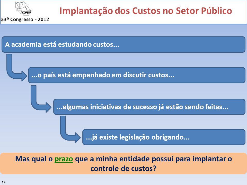 Implantação dos Custos no Setor Público 33º Congresso - 2012 12 Mas qual o prazo que a minha entidade possui para implantar o controle de custos? A ac