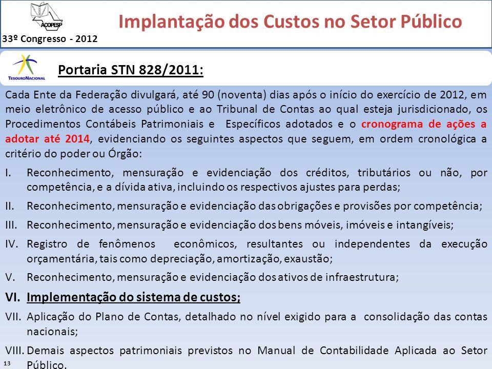 Implantação dos Custos no Setor Público 33º Congresso - 2012 13 Portaria STN 828/2011: Cada Ente da Federação divulgará, até 90 (noventa) dias após o