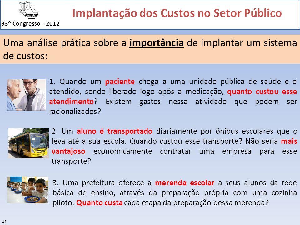 Implantação dos Custos no Setor Público 33º Congresso - 2012 14 1. Quando um paciente chega a uma unidade pública de saúde e é atendido, sendo liberad