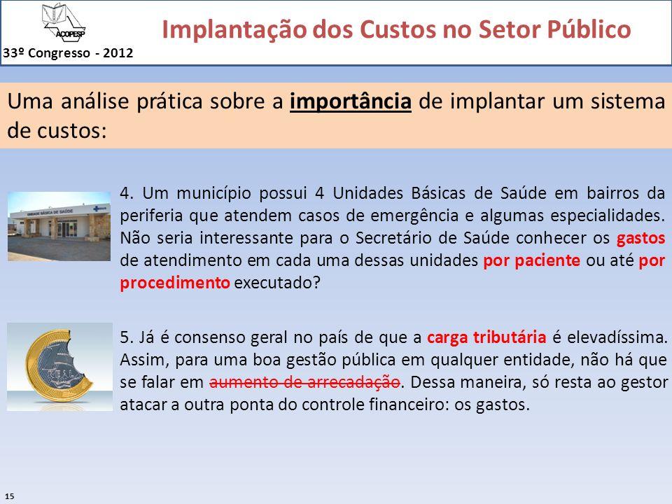 Implantação dos Custos no Setor Público 33º Congresso - 2012 15 Uma análise prática sobre a importância de implantar um sistema de custos: 4. Um munic