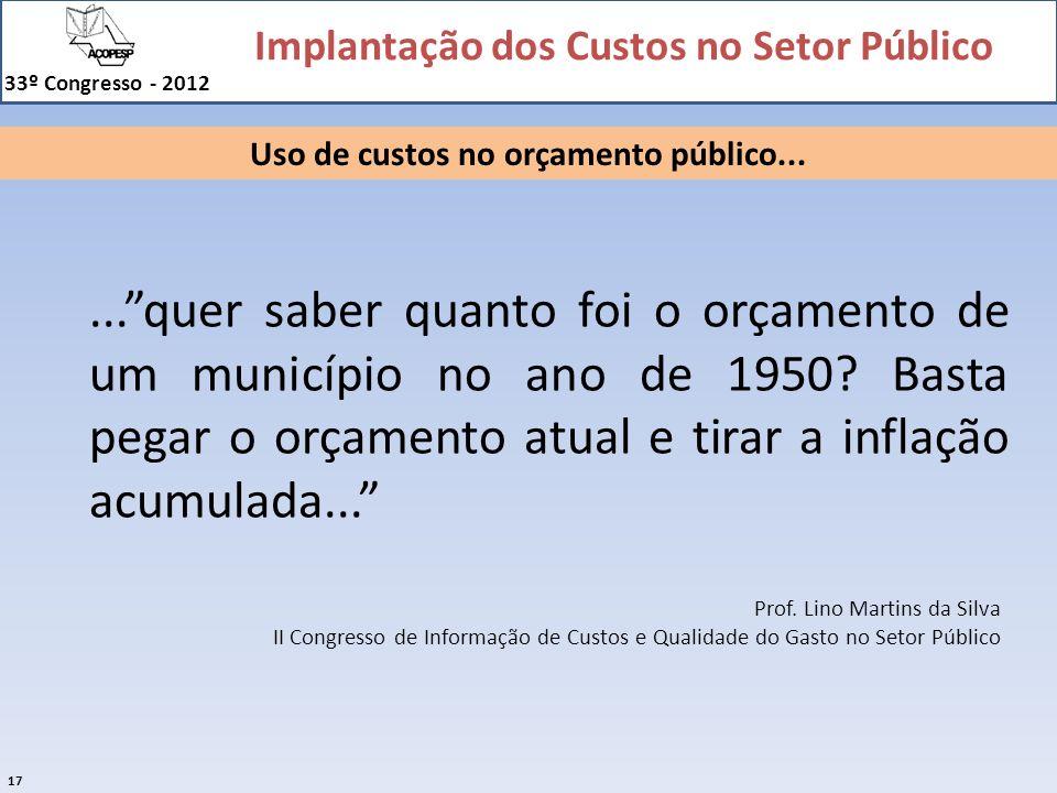 Implantação dos Custos no Setor Público 33º Congresso - 2012 17 Prof. Lino Martins da Silva II Congresso de Informação de Custos e Qualidade do Gasto