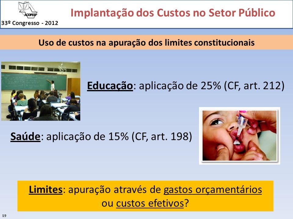 Implantação dos Custos no Setor Público 33º Congresso - 2012 19 Uso de custos na apuração dos limites constitucionais Educação: aplicação de 25% (CF,